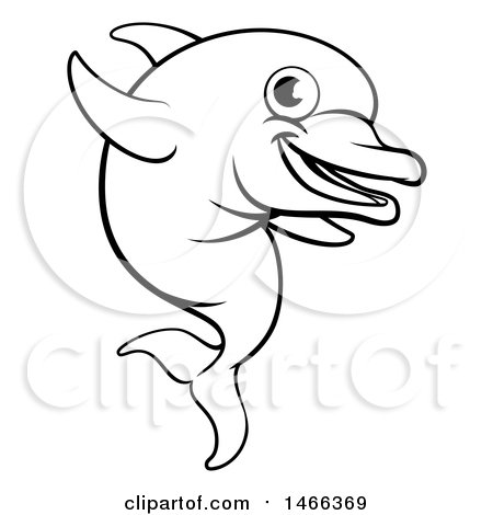 Clipart Of A Black And White Happy Cute Dolphin Jumping