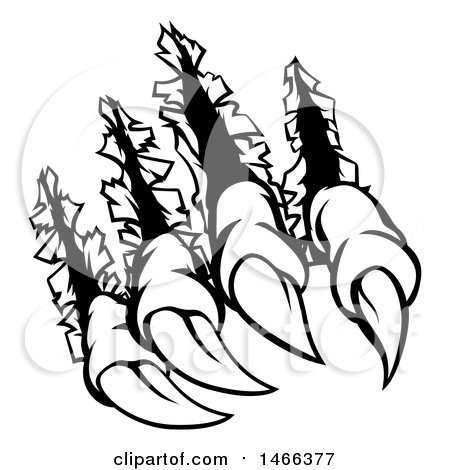 Clipart of Black and White Sharp Claws Shredding Through Metal - Royalty Free Vector Illustration by AtStockIllustration