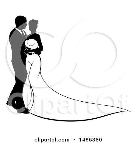 Clipart of a Black and White Silhouetted Posing Wedding Bride and Groom - Royalty Free Vector Illustration by AtStockIllustration