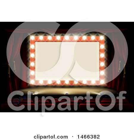 Clipart of a Retro Marquee Theater Sign with Light Bulbs on a Stage - Royalty Free Vector Illustration by AtStockIllustration