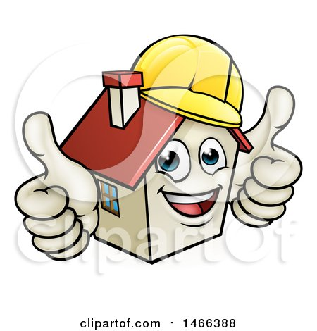 Clipart of a Cartoon Happy White Home Mascot Character Wearing a Hardhat and Giving Two Thumbs up - Royalty Free Vector Illustration by AtStockIllustration