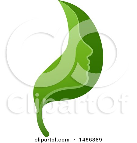 Clipart of a Green Leaf Face - Royalty Free Vector Illustration by AtStockIllustration