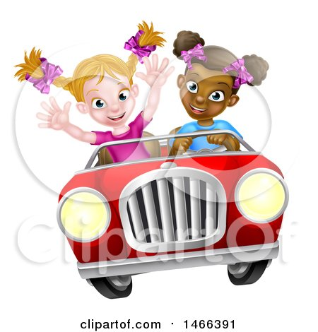 Clipart of a Happy Black Girl Driving a Red Convertible Car with a White Girl in the Passenger Seat - Royalty Free Vector Illustration by AtStockIllustration