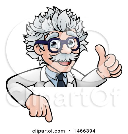 Clipart of a Cartoon Senior Male Scientist Giving a Thumb up over a Sign - Royalty Free Vector Illustration by AtStockIllustration