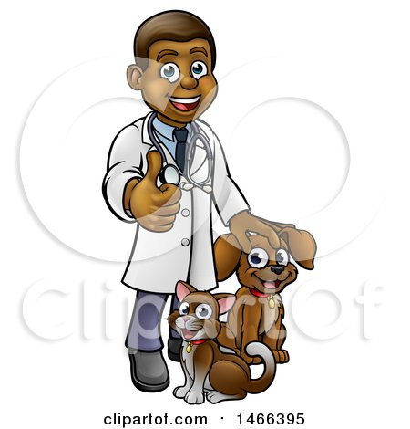 Clipart of a Cartoon Happy Black Male Veterinarian Giving a Thumb up and Standing with a Dog and Cat - Royalty Free Vector Illustration by AtStockIllustration