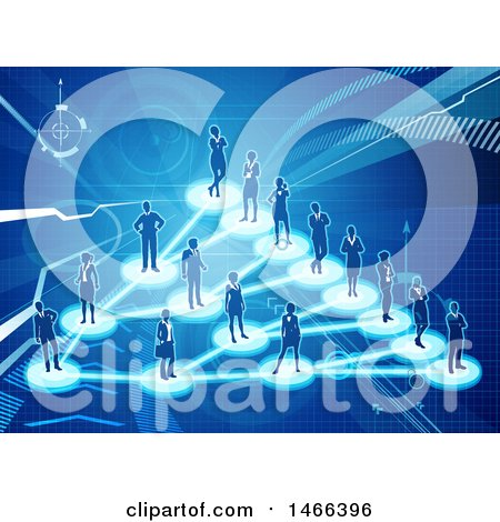 Clipart of a Network of Silhouetted People Connected on a Blue Background - Royalty Free Vector Illustration by AtStockIllustration