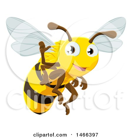 Clipart of a Happy Bee Flying and Waving - Royalty Free Vector Illustration by AtStockIllustration