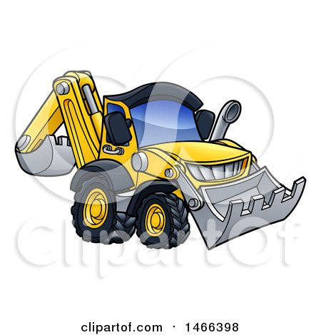 Clipart of a Digger Bulldozer Machine - Royalty Free Vector Illustration by AtStockIllustration