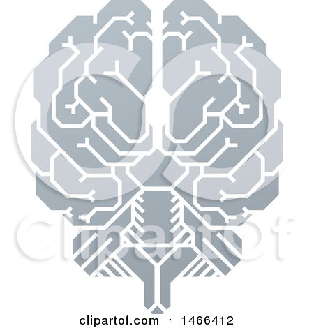 Clipart of a Gray Human Brain with Electrical Circuits - Royalty Free Vector Illustration by AtStockIllustration