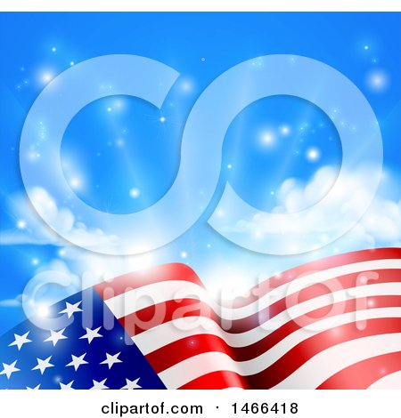 Clipart of a Rippling American Flag Under Blue Sky with Sunshine - Royalty Free Vector Illustration by AtStockIllustration