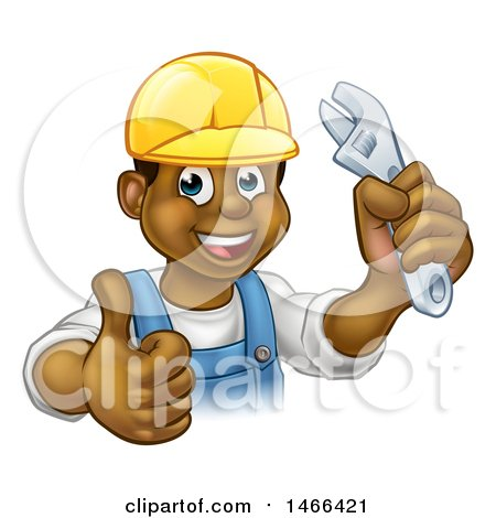 Cartoon Happy Black Male Plumber Holding an Adjustable Wrench and Giving a Thumb up Posters, Art Prints