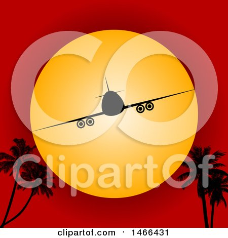Clipart of a Silhouetted Airplane Against a Sunset in a Red Sky, with Palm Trees - Royalty Free Vector Illustration by elaineitalia