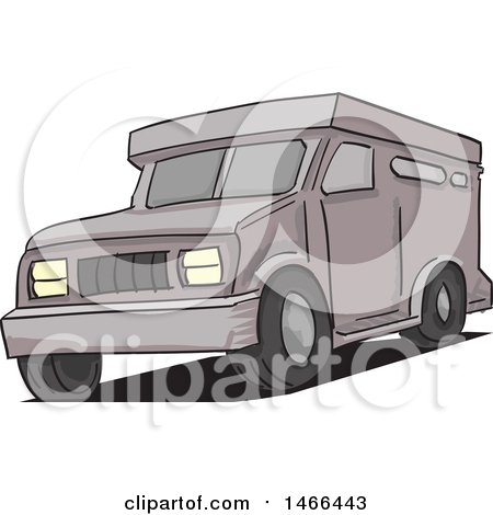 Clipart of an Armored Truck - Royalty Free Vector Illustration by David Rey