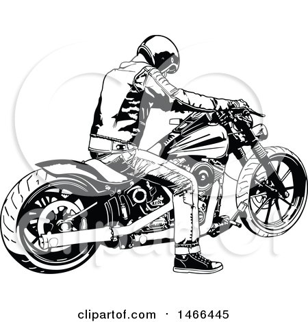 Clipart of a Black and White Biker on a Motorcycle - Royalty Free Vector Illustration by dero
