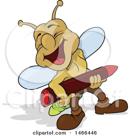Clipart of a Lightning Bug Laughing and Holding a Crayon - Royalty Free Vector Illustration by dero