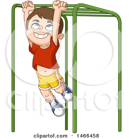 Clipart of a Happy Boy Playing on Monkey Bars - Royalty Free Vector Illustration by yayayoyo