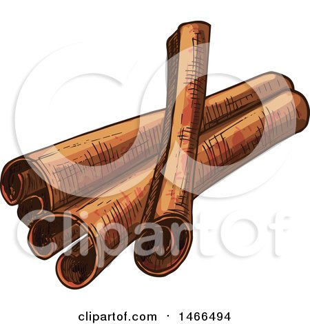 Clipart of a Sketched Spice, Cinnamon Sticks - Royalty Free Vector Illustration by Vector Tradition SM