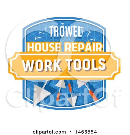 Clipart of a Trowel Shield Design with Text - Royalty Free Vector Illustration by Vector Tradition SM