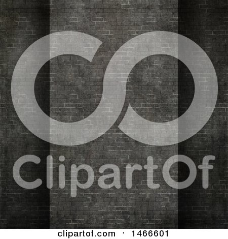 Clipart of a 3d Dark Gray Brick Wall Background - Royalty Free Illustration by KJ Pargeter