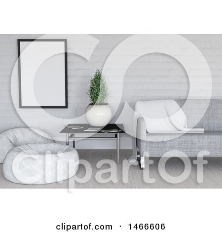 Clipart of a 3d White and Gray Room Interior - Royalty Free Illustration by KJ Pargeter