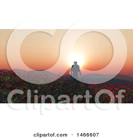 Clipart of a 3d Soldier Walking Through a Poppy Field at Sunset - Royalty Free Illustration by KJ Pargeter