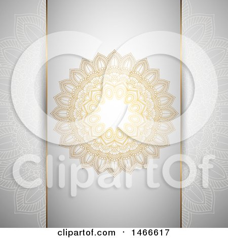 Clipart of a Gray and Gold Mandala Background - Royalty Free Vector Illustration by KJ Pargeter