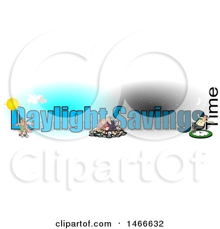 Clipart of a Daylight Savings Time Text Design with People and Clocks - Royalty Free Illustration by djart