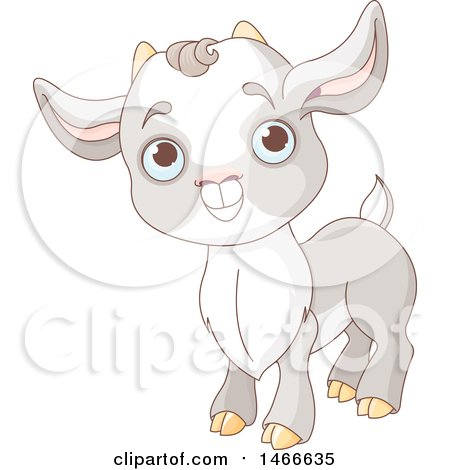 Clipart of a Cute Baby Goat Kid - Royalty Free Vector Illustration by Pushkin