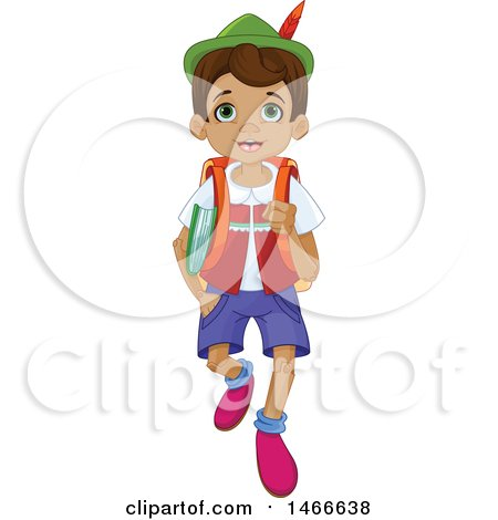Clipart of a Wooden Puppet Boy, Pinnochio, Walking to School - Royalty Free Vector Illustration by Pushkin