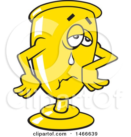 Clipart of a Crying Trophy, Wait till Next Year - Royalty Free Vector Illustration by Johnny Sajem