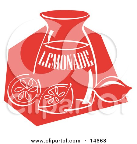 Jar Of Lemonade And A Sliced And Whole Lemon Resting On The Counter Clipart Illustration by Andy Nortnik