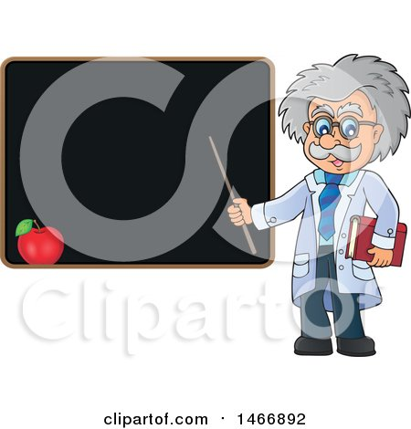 Clipart of a Male Scientist or Professor Holding a Pointer Stick by a Blackboard - Royalty Free Vector Illustration by visekart