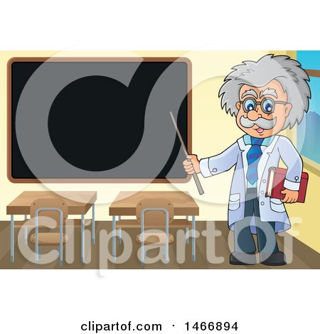 Clipart of a Male Scientist or Professor Holding a Pointer Stick by a Black Board - Royalty Free Vector Illustration by visekart