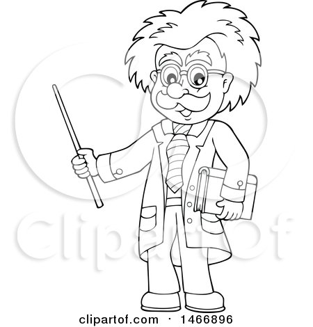 Clipart of a Black and White Male Scientist or Professor Holding a Pointer Stick - Royalty Free Vector Illustration by visekart