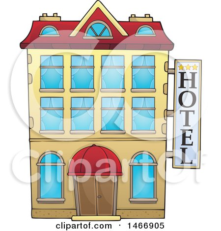 Clipart of a Hotel Building - Royalty Free Vector Illustration by visekart