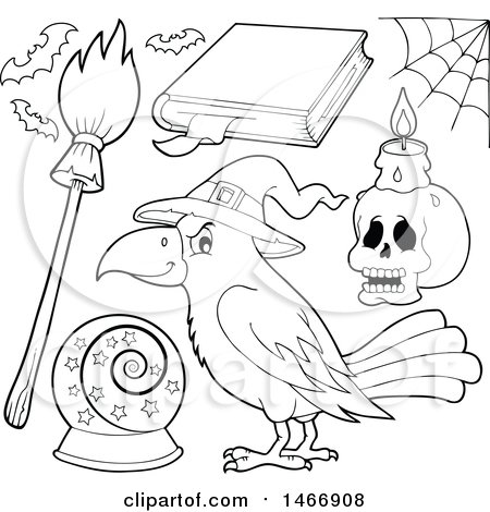 Clipart of a Black and White Crow and Witch Items - Royalty Free Vector Illustration by visekart