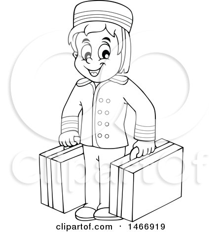 Clipart of a Black and White Hotel Porter Carrying Luggage - Royalty Free Vector Illustration by visekart
