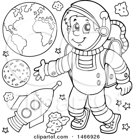 Clipart of a Black and White Astronaut - Royalty Free Vector Illustration by visekart