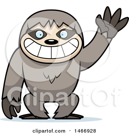 Clipart of a Friendly Sloth Waving - Royalty Free Vector Illustration by Cory Thoman
