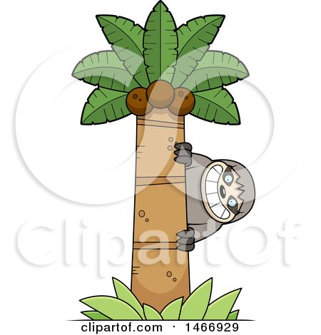 Clipart of a Happy Sloth Peeking Around a Palm Tree - Royalty Free Vector Illustration by Cory Thoman