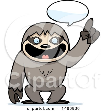 Clipart of a Happy Talking Sloth - Royalty Free Vector Illustration by Cory Thoman