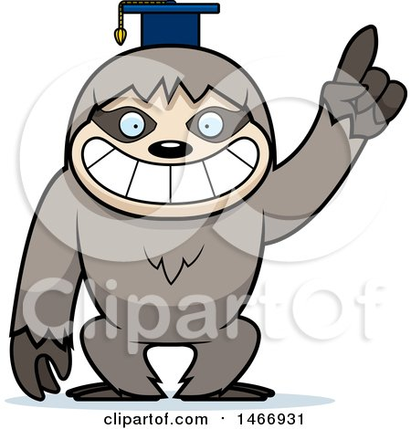 Clipart of a Happy Professor or Graduate Sloth - Royalty Free Vector Illustration by Cory Thoman