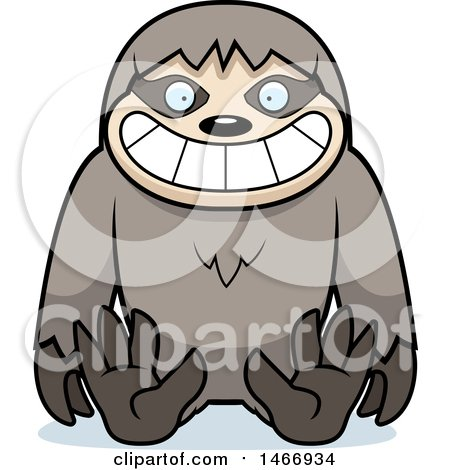 Clipart of a Happy Sloth Sitting - Royalty Free Vector Illustration by Cory Thoman