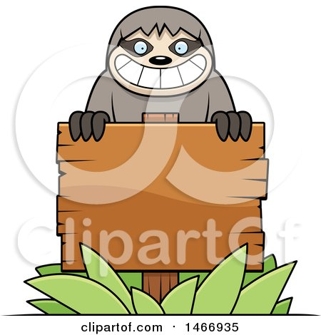 Clipart of a Happy Sloth over a Blank Wood Sign - Royalty Free Vector Illustration by Cory Thoman