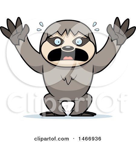 Clipart of a Scared Sloth - Royalty Free Vector Illustration by Cory Thoman