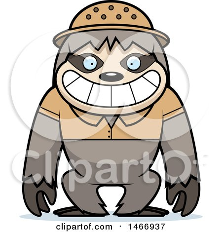 Clipart of a Happy Explorer Sloth - Royalty Free Vector Illustration by Cory Thoman