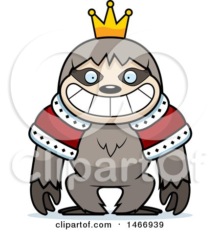 Clipart of a Grinning King Sloth - Royalty Free Vector Illustration by Cory Thoman