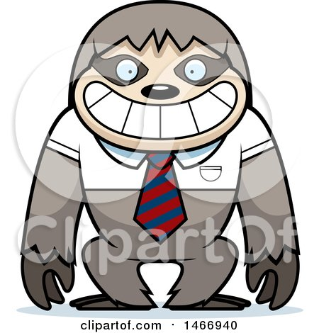 Clipart of a Business Sloth Wearing a Tie - Royalty Free Vector Illustration by Cory Thoman