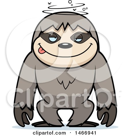 Clipart of a Dizzy or Drunk Sloth - Royalty Free Vector Illustration by Cory Thoman