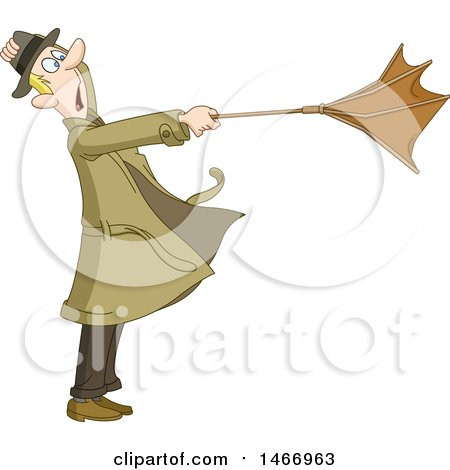Clipart of a Man Caught in a Wind Storm with His Umbrella Turned out - Royalty Free Vector Illustration by yayayoyo